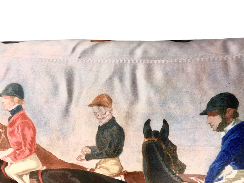 Race Horse Lumbar Pillow  Equestrian Pillow  Herring Jockey Pillow  Horse Kidney Pillow  Race Jockey Pillow  Art Horse Pillow