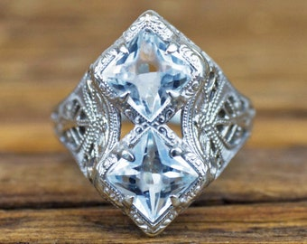 163256cfa 1920's Art Deco 10k White Gold 1.00 ctw Aquamarine Ring. ArnoldJewelers