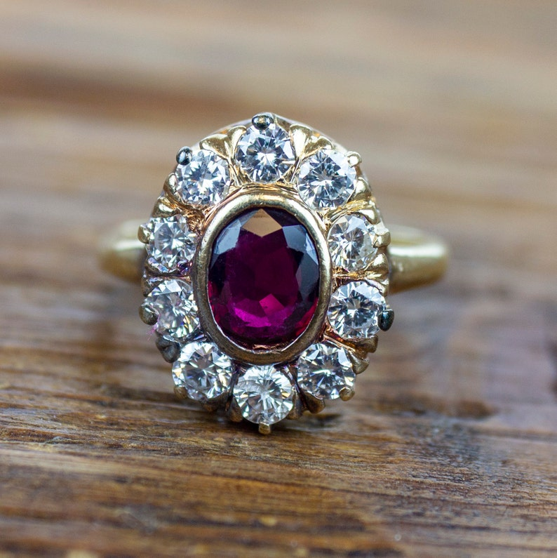 4fc6bba47 Edwardian 14k Gold 1.25 ctw Ruby and Diamond Halo Ring | Etsy
