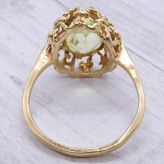 Vintage Neon Green Spinel 2.77 Carat Ring 10k Gold - image 5