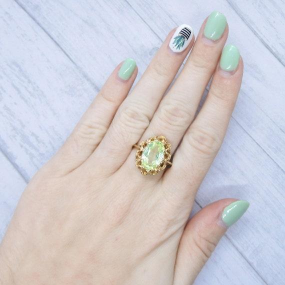 Vintage Neon Green Spinel 2.77 Carat Ring 10k Gold - image 6