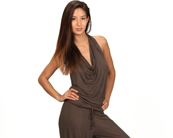 Evelina Backless Jumpsuit Onesie in Dark Olive for Paramita Designs Womens Fall Fashion
