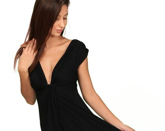 1dfbb1bdac8 Knot Front Empire Waist Black Wrap Dress (LBD) Sexy V Neck Date Night Party  Dress   Paramita Designs Womens Wholesale Clothing