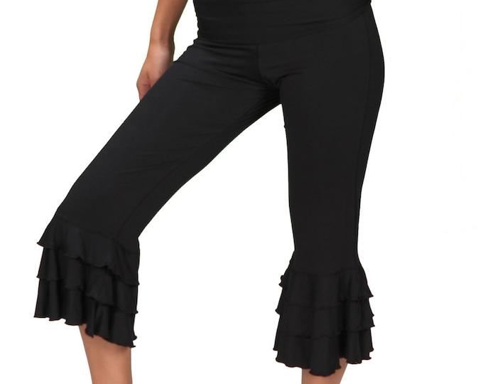 Womens Ruffle Pants Bloomer Capri Yoga Pants in Black for Womens Boho Festival Fashion Paramita Designs Wholesale Yoga Clothing