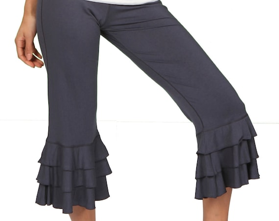 Darlene Ruffle Bloomer Yoga Pants in Gray for Womens Summer Fashion Boho Chic Wear Wholesale