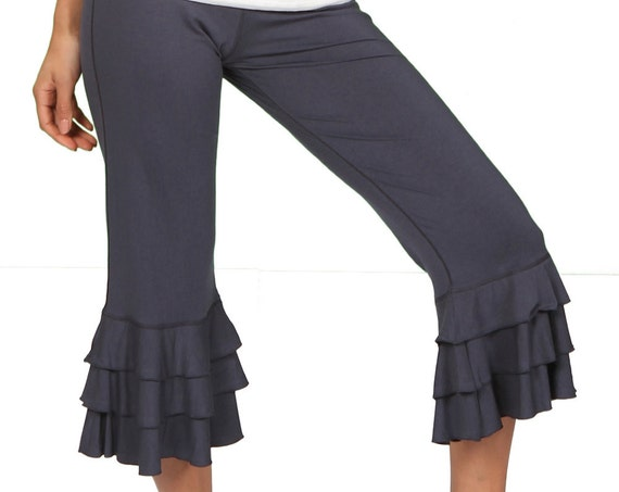 Darlene Ruffle Bloomer Yoga Pants in Gray for Holiday Fashion Boho Chic Wear Wholesale