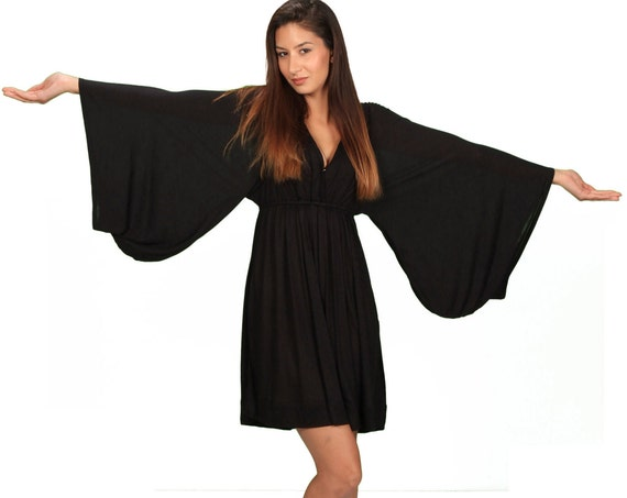 Bell Sleeve Goddess Dress in Black Fashion Festival Wear Gift for Her Party Dress