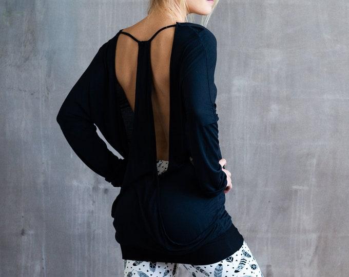 Jolie Backless Bamboo Top in Black Womens Fashion Boho Festival Wear