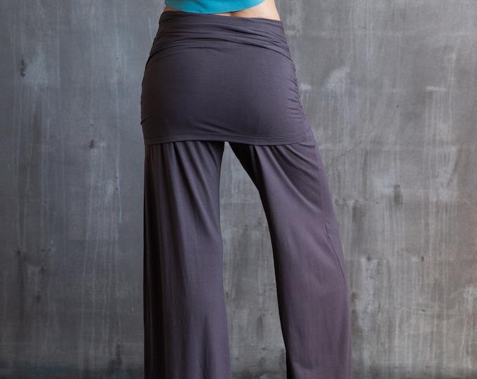 Palazzo Yoga Pants with Miniskirt in Mocha for Womens Fashion Boho Festival Wear