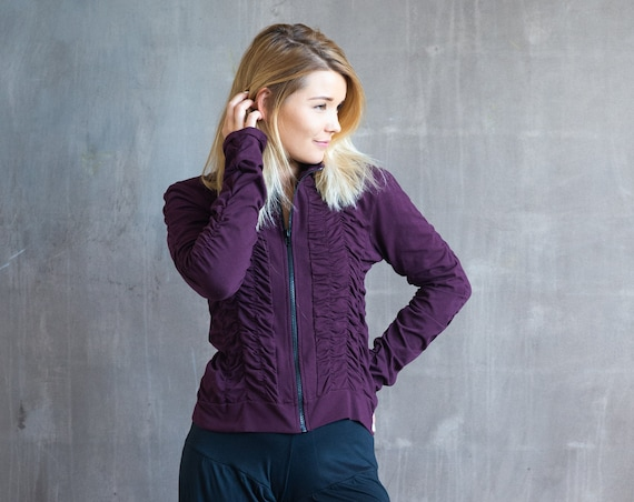Mrs Peacock Ruched Women's Jacket in Eggplant for Womens Fall Fashion Yoga Wear Gift Wholesale
