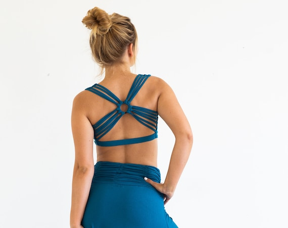 Yoga Bra Tank Top Strappy Woven Back Sports Bra Tank Top in Horizon Blue Summer Sale Burning Man Wholesale Yoga Clothing