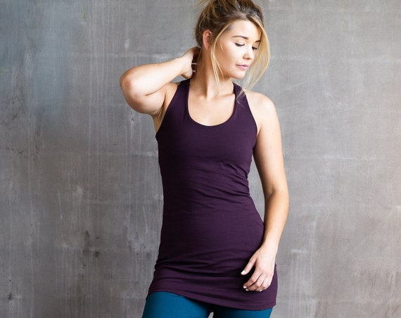 Faith Strappy Woven Back Long Yoga Tank Top in Eggplant