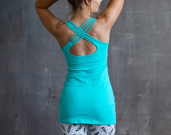 Faith Strappy Woven Back Long Yoga Tank Top in Turquoise for Womens Boho Festival Wear