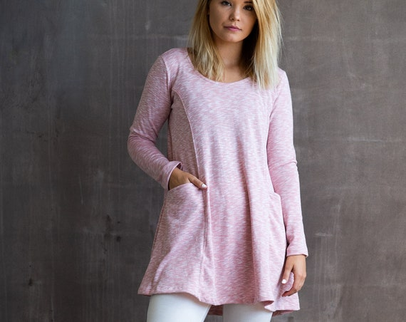 Cotton Long Sleeve Tunic Dress with Pockets in Pink Boho Spring Festival