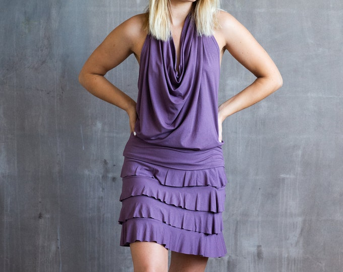 Darlene Ruffle Mini Skirt In Dusty Lavender for Womens Boho Summer Fashion Chic Festival Wear