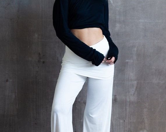 New Devi Pants with Miniskirt in White for Womens Fashion Boho Festival Wear