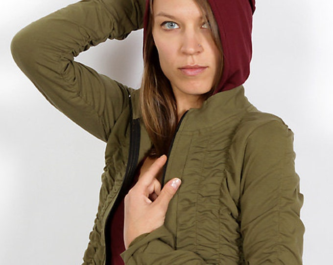 Mrs Peacock Ruched Women's Jacket in Olive for Womens Fashion Festival Wear Wholesale