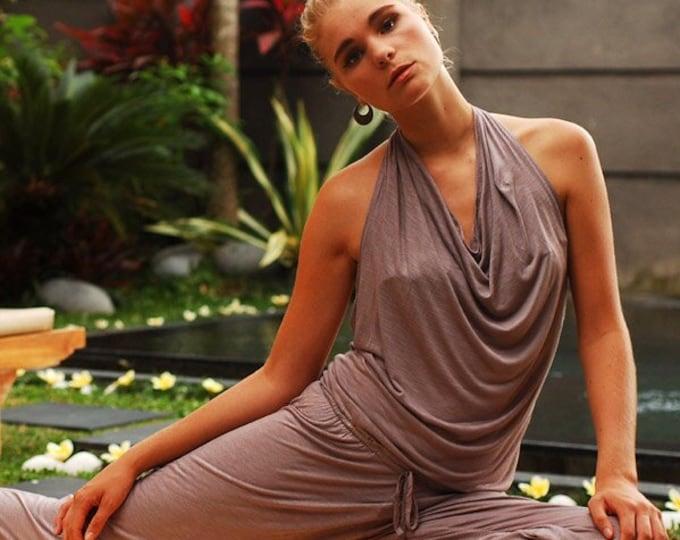 Womens Onepiece Cowl Neck Halter Top Backless Yoga Jumpsuit / Romper / Onesie