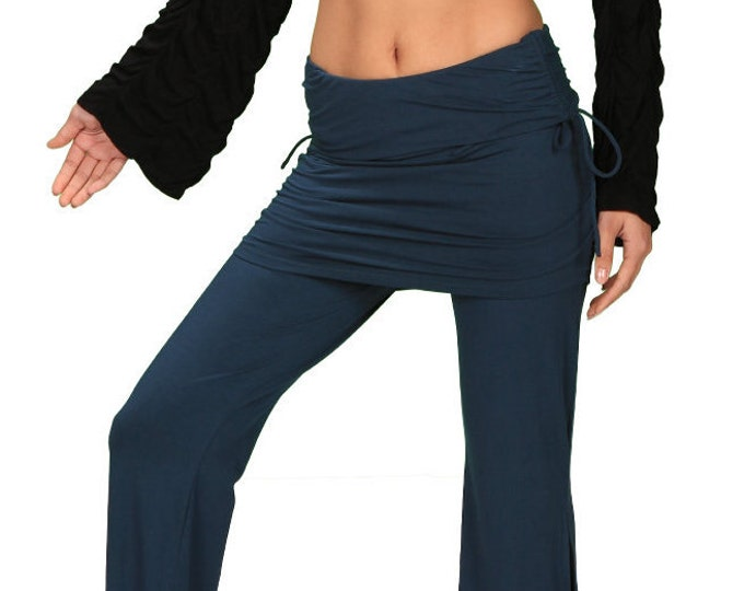 Palazzo Yoga Pants with Miniskirt in Dark Teal for Womens Fashion Boho Chic Festival Wear Wholesale