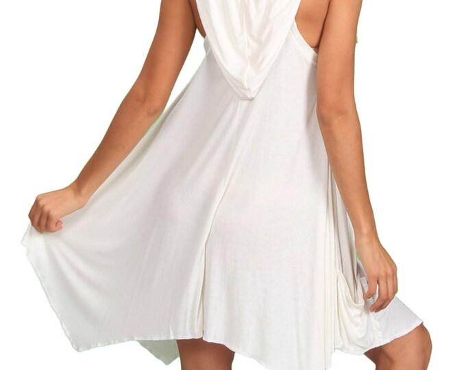 Pixie Sleeveless Hoodie Dress in White Bamboo Fabric