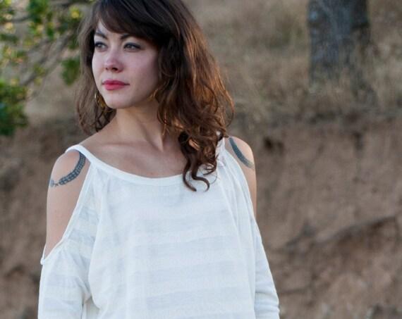 "Cheyenne ""Cold Shoulder"" Shirt in Cream Stripe for Womens Summer Fashion"