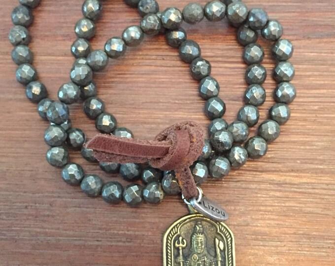 Pyrite Mala Prayer Beads w/ Shiva Pendant /Aum Symbol Bracelet / Om