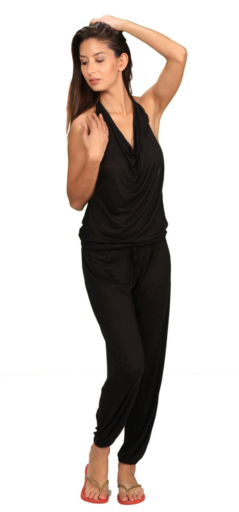 cba6263cd52c Evelina Backless OnePiece Jumpsuit in Black for Womens Summer