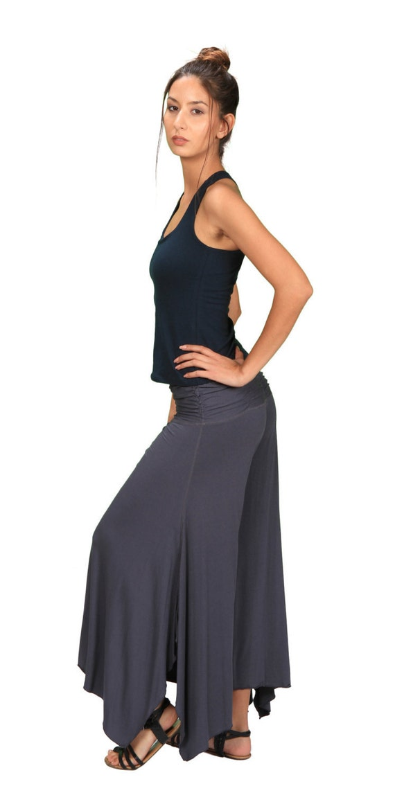Ruched Waistband Comfortable Wide Leg Pants in Dark Teal for Womens Boho Chic Fashion Wholesale
