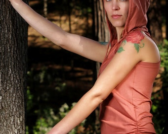 Faerie Ruched Sleeveless Hoodie Dress in Rustic Peach for Womens Festival Fashion Yoga Wear Wholesale