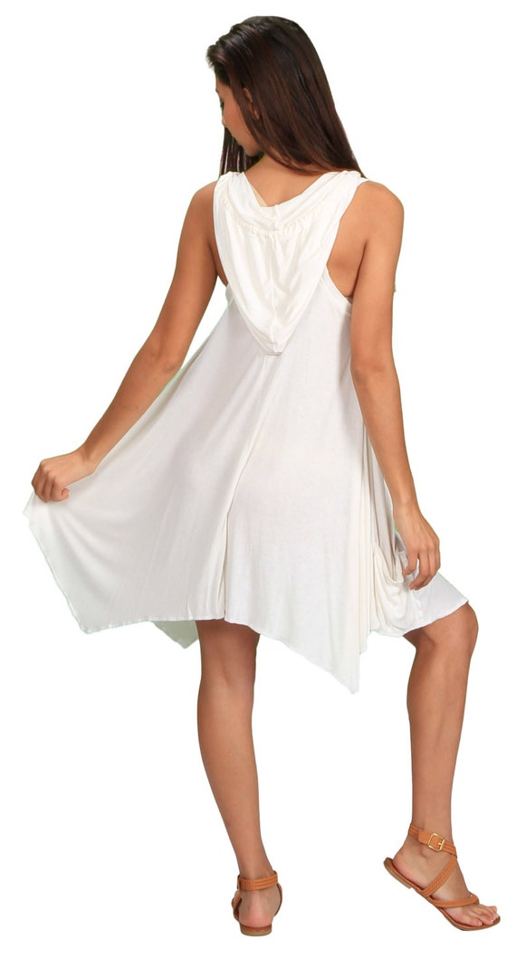 Pixie Sleeveless Hoodie Dress in White Bamboo for Womens Fashion Wholesale