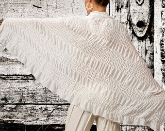 Wraps Shawl / Ruched Wrap / Cotton Scarf with Ruffle / Cotton Wrap Shawl / Shawl with Ruffle / White Kundalini Yoga Wrap / Paramita Designs