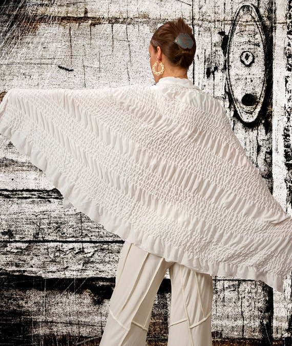 Wraps Shawl / Ruched Wrap / Cotton Scarf with Ruffle / Cotton Wrap Shawl / Shawl with Ruffle / White Kundalini Yoga Wrap / Paramita Designs