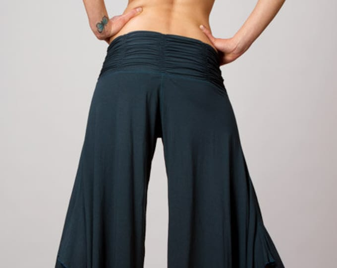 Ruched Waistband Comfortable Wide Leg Gaucho Pants / Dance Pants / Yoga Wear / Music Festival Clothing / Paramita Designs Wholesale Clothing