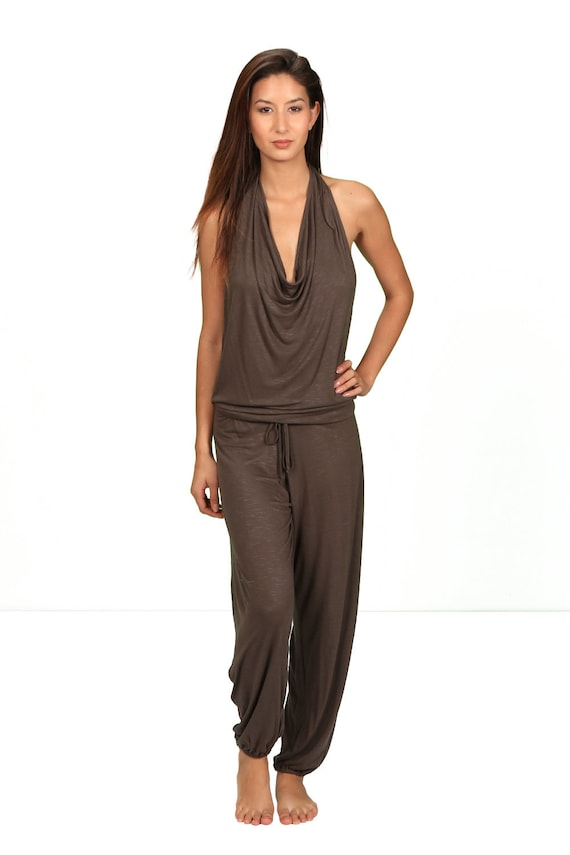 37d1bd63e5a5 Evelina Backless Jumpsuit Onesie in Dark Olive for Paramita
