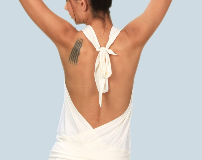 Cowl Front Backless Halter Top in White for Womens Fashion  Boho Chic Festival Yoga Wear Wholesale
