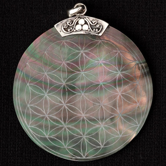 Cyber Monday Sale Flower Of Life Engraved Shell Pendant