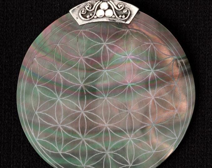 Flower Of Life Engraved Shell Pendant