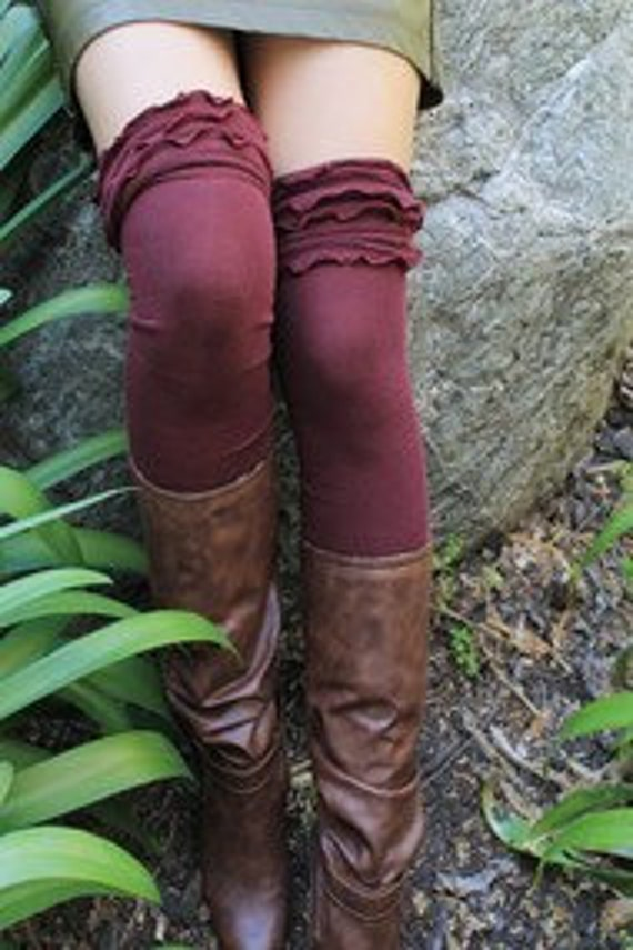 Over the Knee Thigh High Ruffled Sock in Black or Burgundy Wine Gift for Her