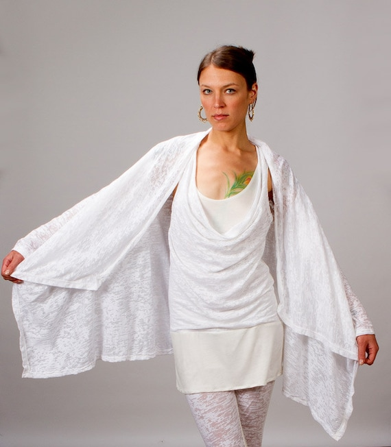 Calico Asymmetrical Women's Jacket in White for Womens Fashion