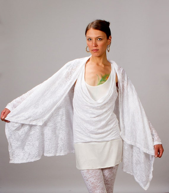 Calico Asymmetrical Women's Jacket in White for Womens Summer Fashion
