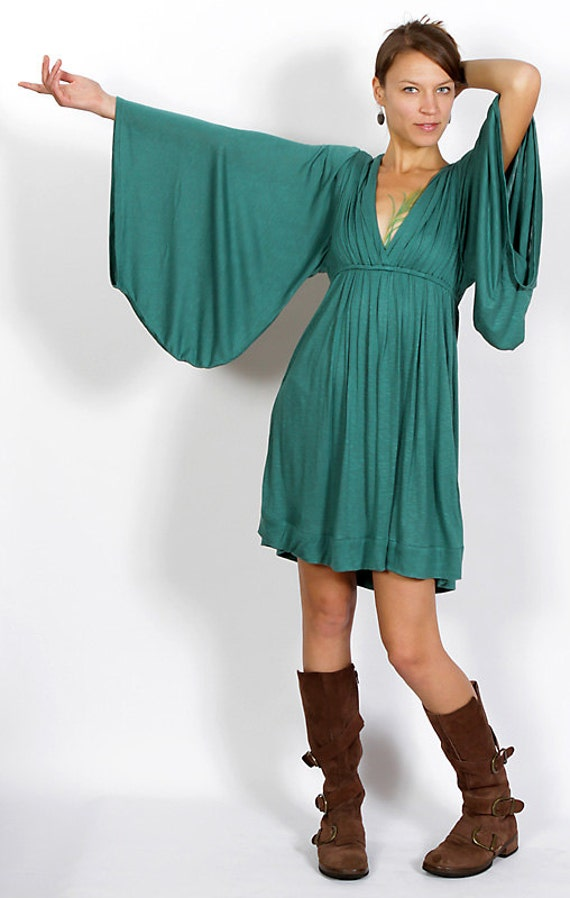 Bell Sleeve Goddess Dress in Teal Fashion Festival Wear Gift for Her Party Dress