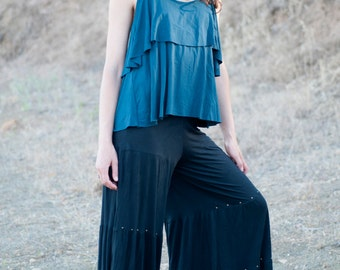 Spring Sale! Stella Two-Tier Tank with Unique Back Detail in Dark Teal for Womens Fashion