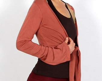 Yoga Wrap Top / Mini Jacket / Sleeves / Cropped Shrug / Tie Front Long Sleeves  for Fall Festival / Paramita Designs Yoga Clothing Wholesale