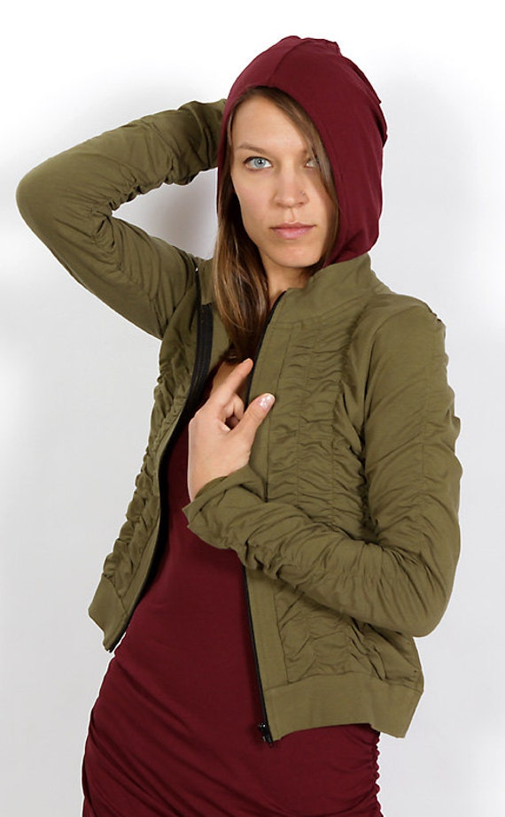 Spring Sale! Mrs Peacock Ruched Women's Jacket in Olive for Womens Fashion Festival Wear Wholesale
