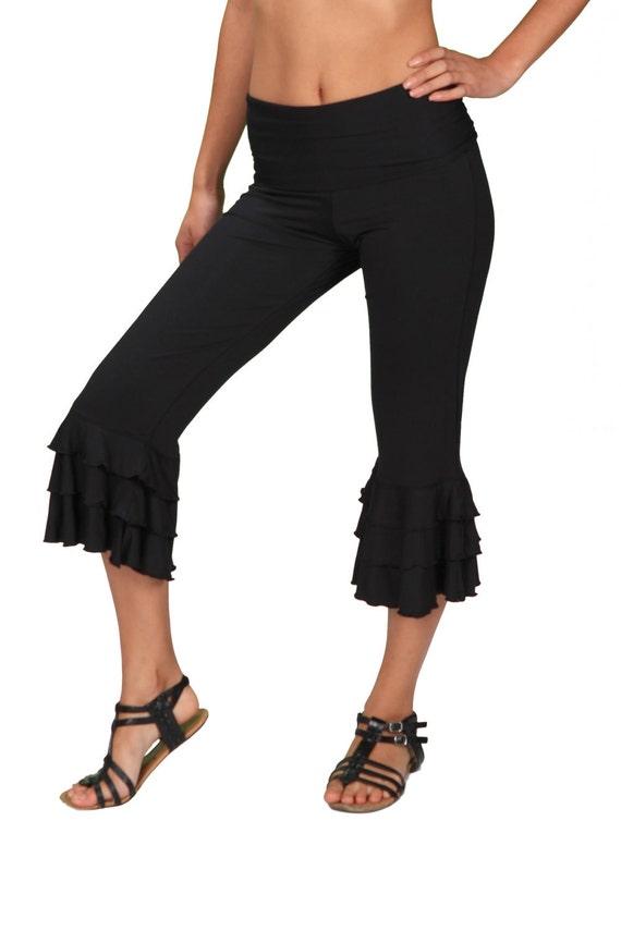 Spring Sale! Darlene Ruffle Bloomer Capri Yoga Pants in Black for Womens Fashion Boho Chic Wear Wholesale