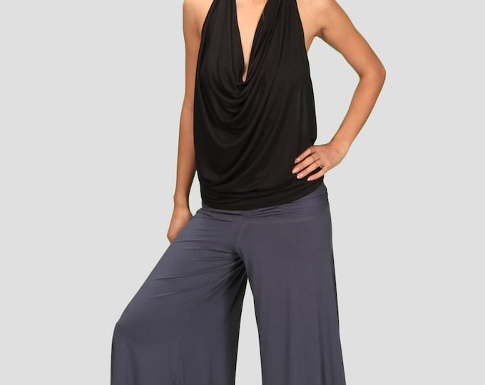 Cowl Neck Backless Halter Top in Black for Womens Festival Yoga Wear Wholesale Womens Clothing