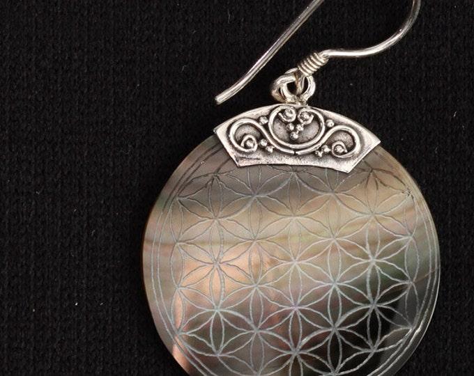 Flower Of Life Engraved Shell Pendant Earrings (PAIR) Fall Gift for her Wholesale