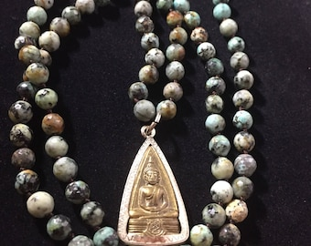 African Turquoise Buddha Pendant Prayer Bead Mala Necklace Gift for Him or Her