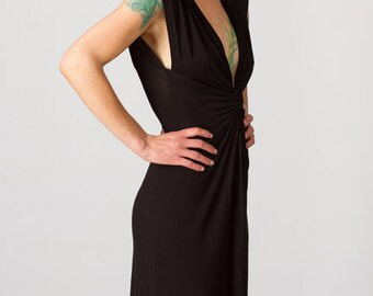 Black Wrap Dress with Empire Waist Knot Front Dress (LBD) Sexy V Neck Date Night Party Dress