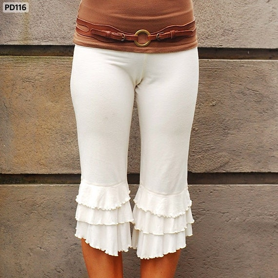 Ruffle Pants Bloomer Capri in Cream for Womens Fashion Festival Boho Chic Yoga Wear Spring Gift Wholesale